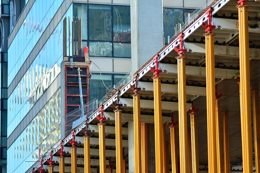 concrete pillars on construction site.