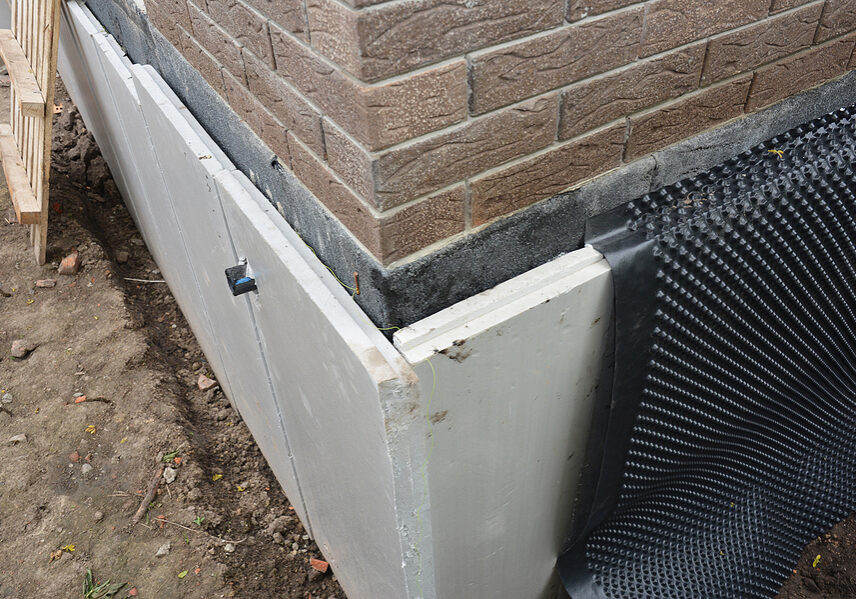 foundation insulation and damp proofing in problem corner area.
